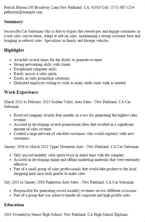 auto sales resume samples car salesman resume template best design tips