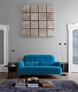 design interieur deco salon moderne canape bleu tapis With tapis shaggy avec canape design gris