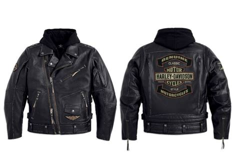 Harley Davidson Herren Rocker 3in1 Schwarz Lederjacke