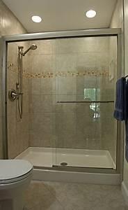 Small Bathroom Tile Designs with Kohler fluence frameless ...