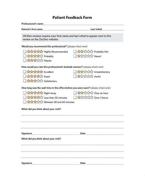patient feedback forms  word