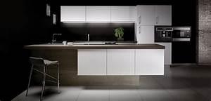 Cuisine Bois Et Blanc : cuisine bois gris et blanc laqu plan de travail quartz ~ Dailycaller-alerts.com Idées de Décoration