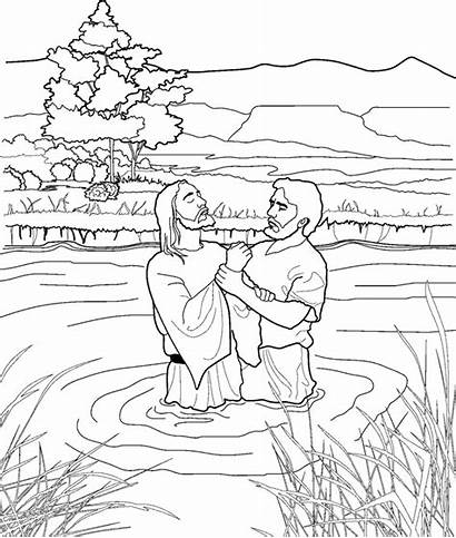 Jesus John Coloring Baptizing Lds Line Primary