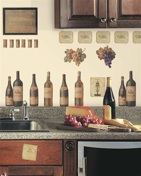 wine tasting wall decals grapes bottles  stickers