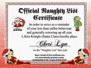 Santa naughty list certificates official naughty list for Naughty letter from santa for adults