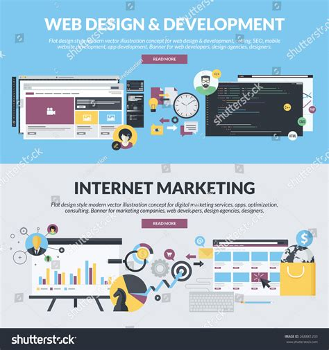 Web Marketing Services by Flat Design Concepts For Web Design And Development And