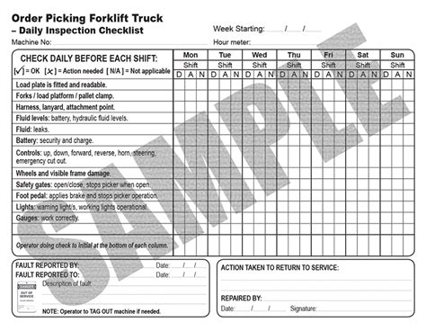 cherry picker training materials checklist  order