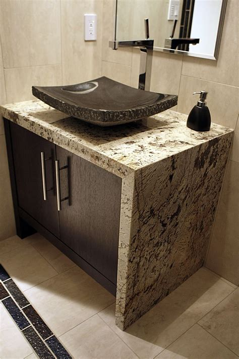granite waterfall edge 17 best images about natural stone bathrooms on pinterest studios fossil and bathroom wall
