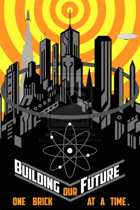 Building Our Future Retro Futuristic Poster By Lordlibidan
