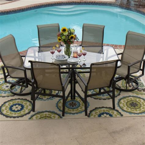 6 person patio set acadia 6 person sling patio dining set with glass top