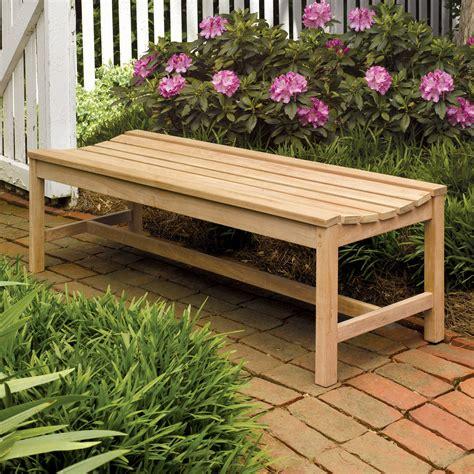 Oxford Garden Shorea Wood Backless Bench  Outdoor Benches