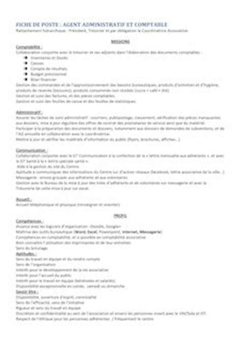 fiche de poste cadre administratif fiche de poste cadre administratif 28 images fiche m 233 tier administratif et comptable h