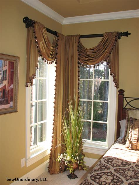 swags and panels in corner window curtains drapes