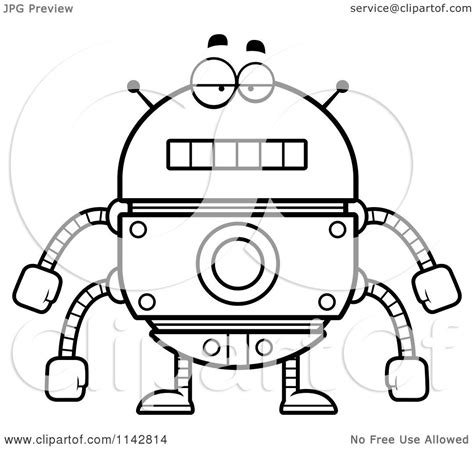 Kleurplaat Robotboy by Clipart Of A Black And White Bored Robot Vector