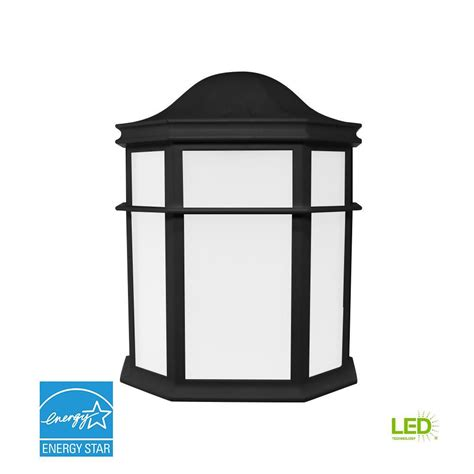decorative 1 light black outdoor integrated led wall mount sconce ewl 1100e bk the home depot