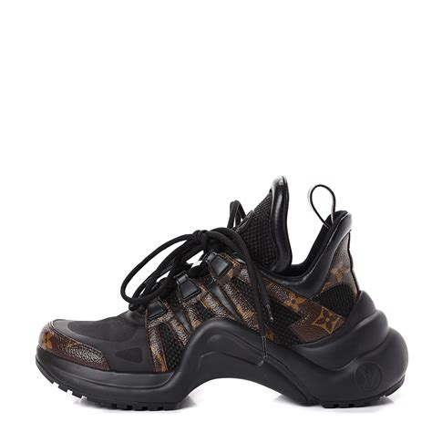 louis vuitton patent monogram womenss lv archlight sneakers  black