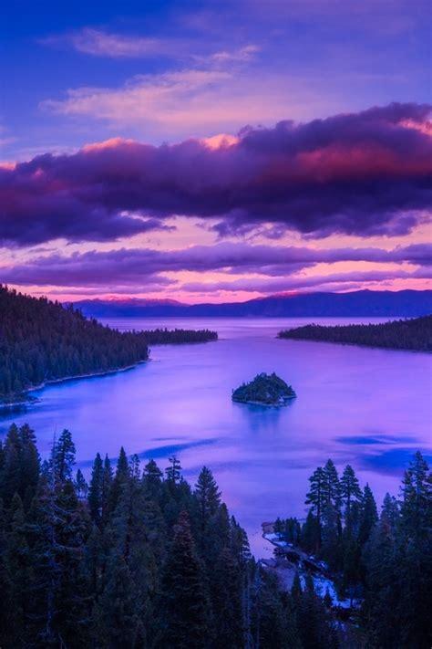 emerald bay  sunset lake tahoe california usa