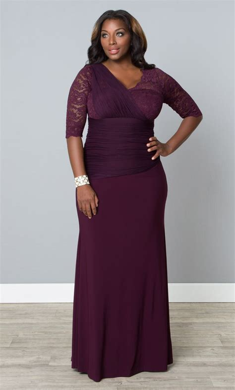 Our plus size purple Soiree Evening Gown offers a body con ...
