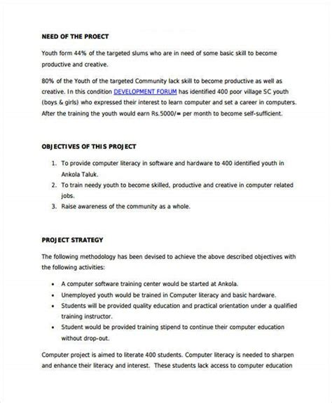training project proposal templates  word