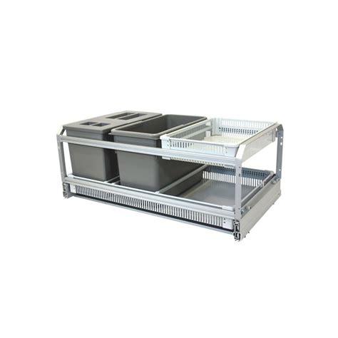 poubelle cuisine ouverture automatique poubelle de cuisine coulissante 3 bacs 45l