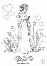 Greek Coloring Mythology Muses Nine Gods Muse sketch template