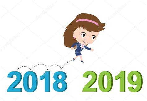 Happy Business Woman Running From 2018 To 2019, New Year