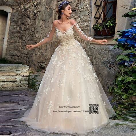 Champagne Vintage Wedding Dress Lace Flowers Crystals Long