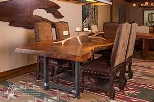 Rustic dining table - live edge wood slabs Littlebranch Farm