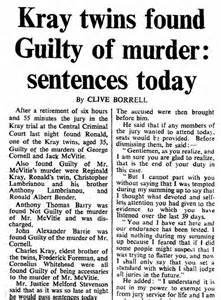 Newspaper Article Kray Twins