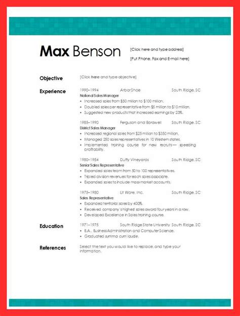 Cv Template Exles Free by Cv Format In Ms Word Resume Format