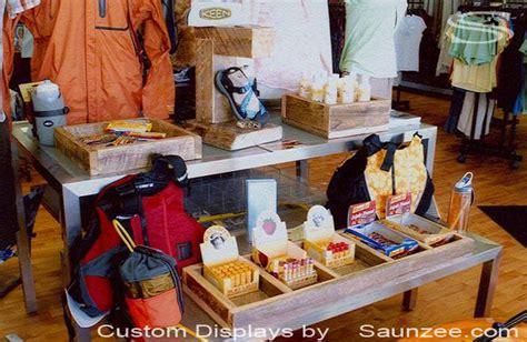 reclaimed wood retail fixtures rustic wooden display ideas