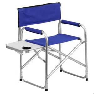 folding cing chair with table and drink holder in blue