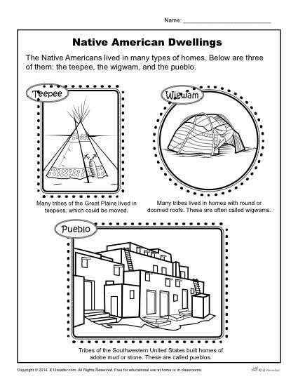 Native American Dwellings  Reading Worksheets, Native Americans And Worksheets