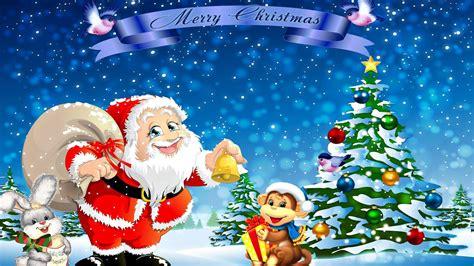 santa claus rabbit monkey christmas tree hd wallpaper