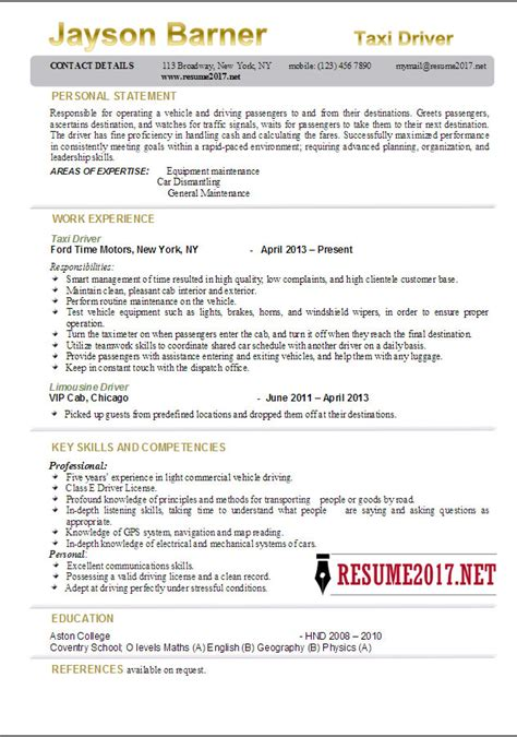 Cab Driver Resume by Taxi Driver Resume Exles 2017