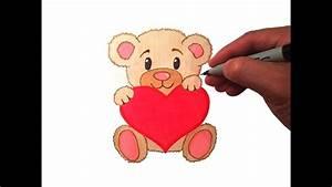 How to Draw a Cute Teddy Bear with a Heart - YouTube