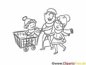 Familie Beim Einkaufen Zeichnung Schwarz Wei Malvorlage