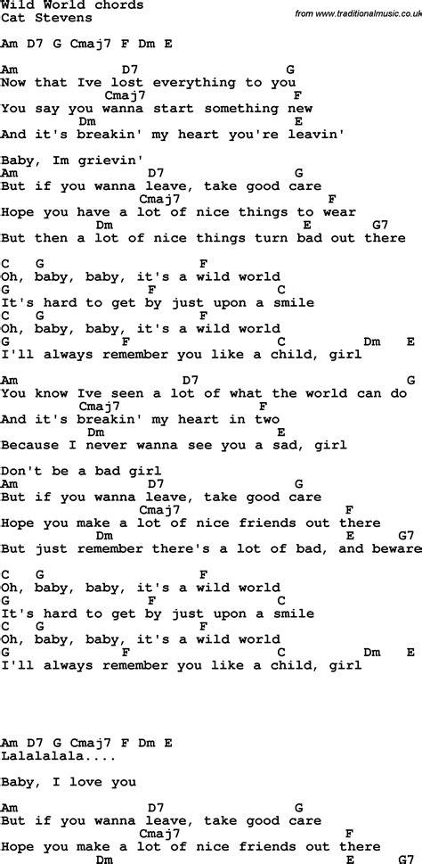 song lyrics  guitar chords  wild world