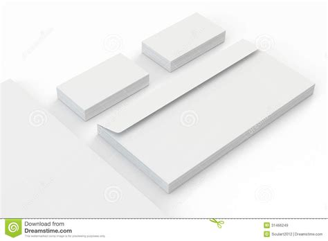 Blank A4 Paper, Business Cards, Envelopes Isolated On