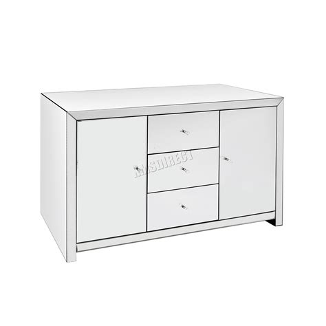 Foxhunter Mirrored Furniture Glass With Drawer Chest