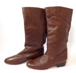 womens boots vintage vintage womens 10m brown leather mid calf pull on boots ebay