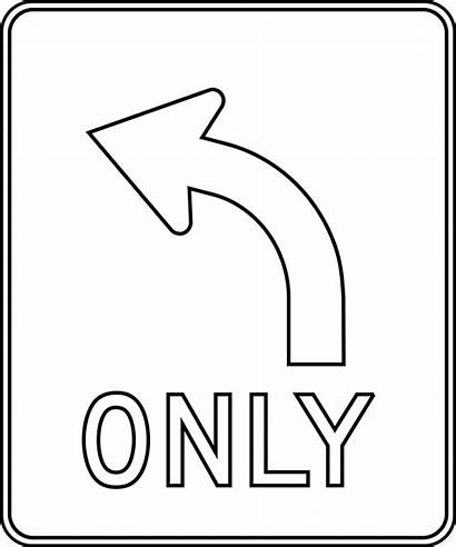 Coloring Traffic Pages Signs Turn Left Outline