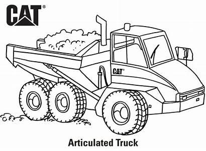 Coloring Cat Caterpillar Excavator Machine Truck Printables