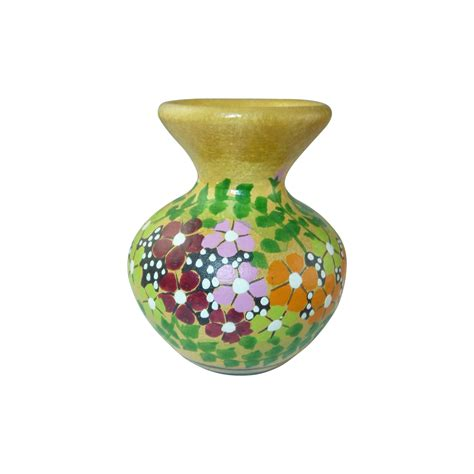 yellow miniature hand painted pottery urn vase