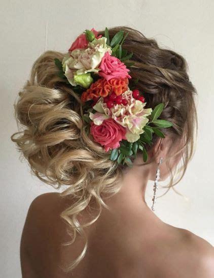 Loose Curls Flower Hairpiece Updo Wedding Hairstyle