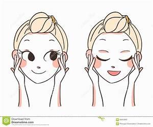 Beautiful Women Face Hands.skin Care.vector Illustration ...