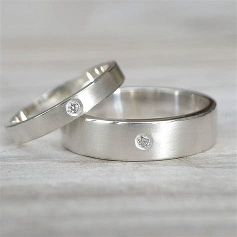 matching diamond silver wedding rings by lilia nash jewellery notonthehighstreet com