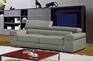 Canapé Cuir Gris Clair : canap mobilier priv ~ Teatrodelosmanantiales.com Idées de Décoration