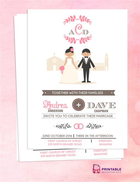 bride weds groom wedding card template free pdf download couple cartoon in front of church