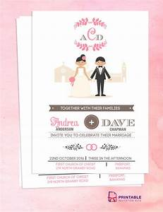 free pdf download couple cartoon in front of church With wedding invitation sample front page